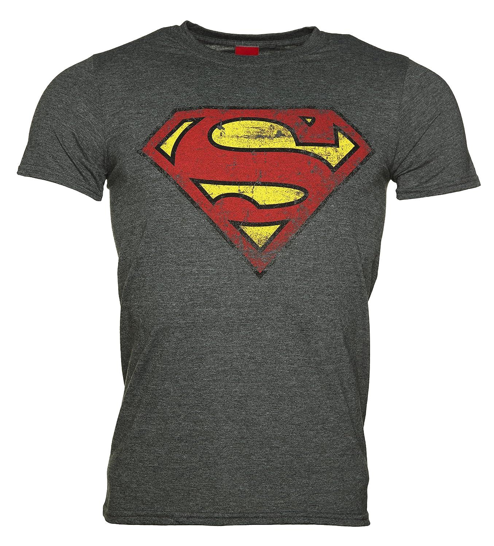 567090c52f0b04 Amazon.com  Mens Charcoal Distressed Superman Logo T Shirt - Superhero  Villain Tees  Clothing