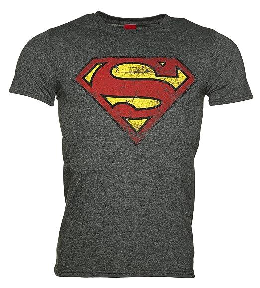 43a6194d8d1 Amazon.com  Mens Charcoal Distressed Superman Logo T Shirt ...