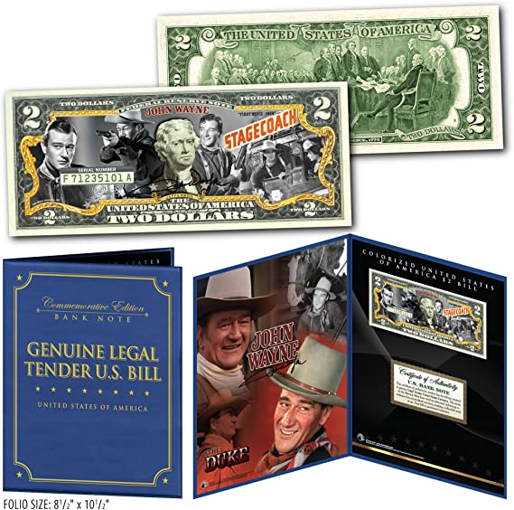 JOHN WAYNE 1939 Stagecoach Genuine $2 Bill in 8x10 Collectors Display