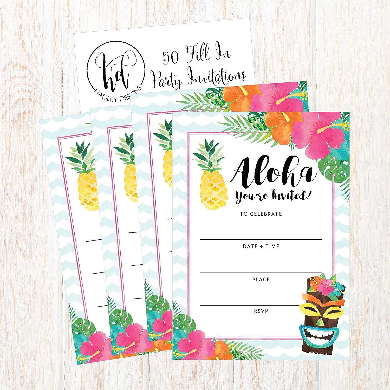 50 Hawaiian Luau Summer Swim Pool Party Invitations For Children Kids Teens Adults Summertime Birthday Cookout Invitation Cards Boys Girls