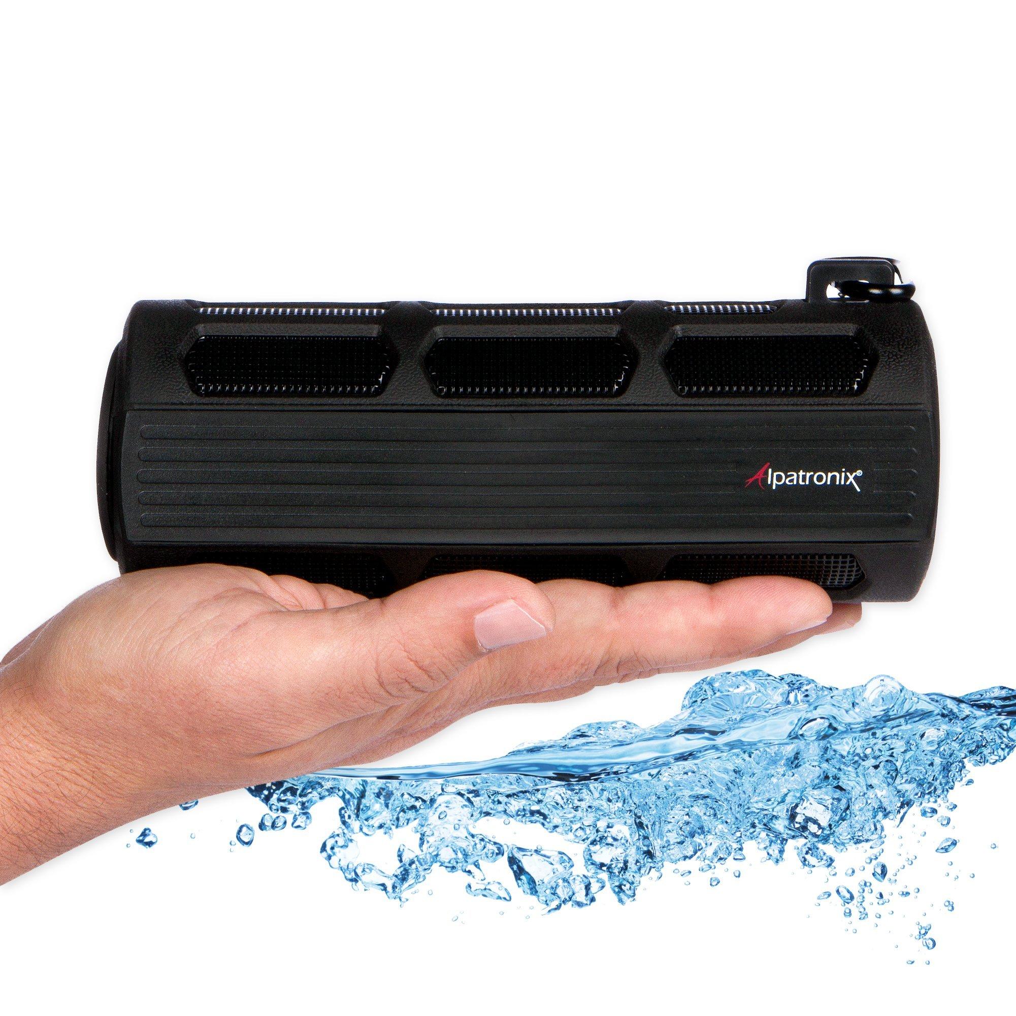 Alpatronix Waterproof Bluetooth Speaker Portable Rechargeable 12W Stereo Shockproof & Dustproof Wireless Speaker w/Built-in Mic, Controls & Subwoofer for Bicycles, Smartphones & Computers - Black