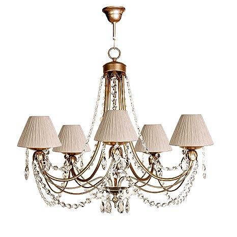 Lámpara de techo de 5 luces acabado oro envejecido con ...