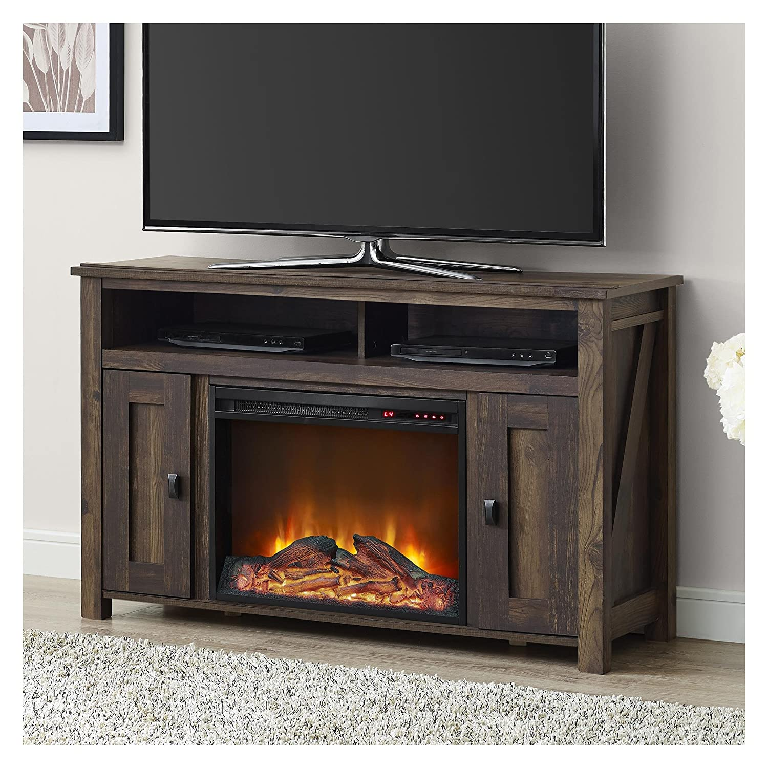 stand fireplace tv insert cabinet red furniture amazon with contemporary entertainment