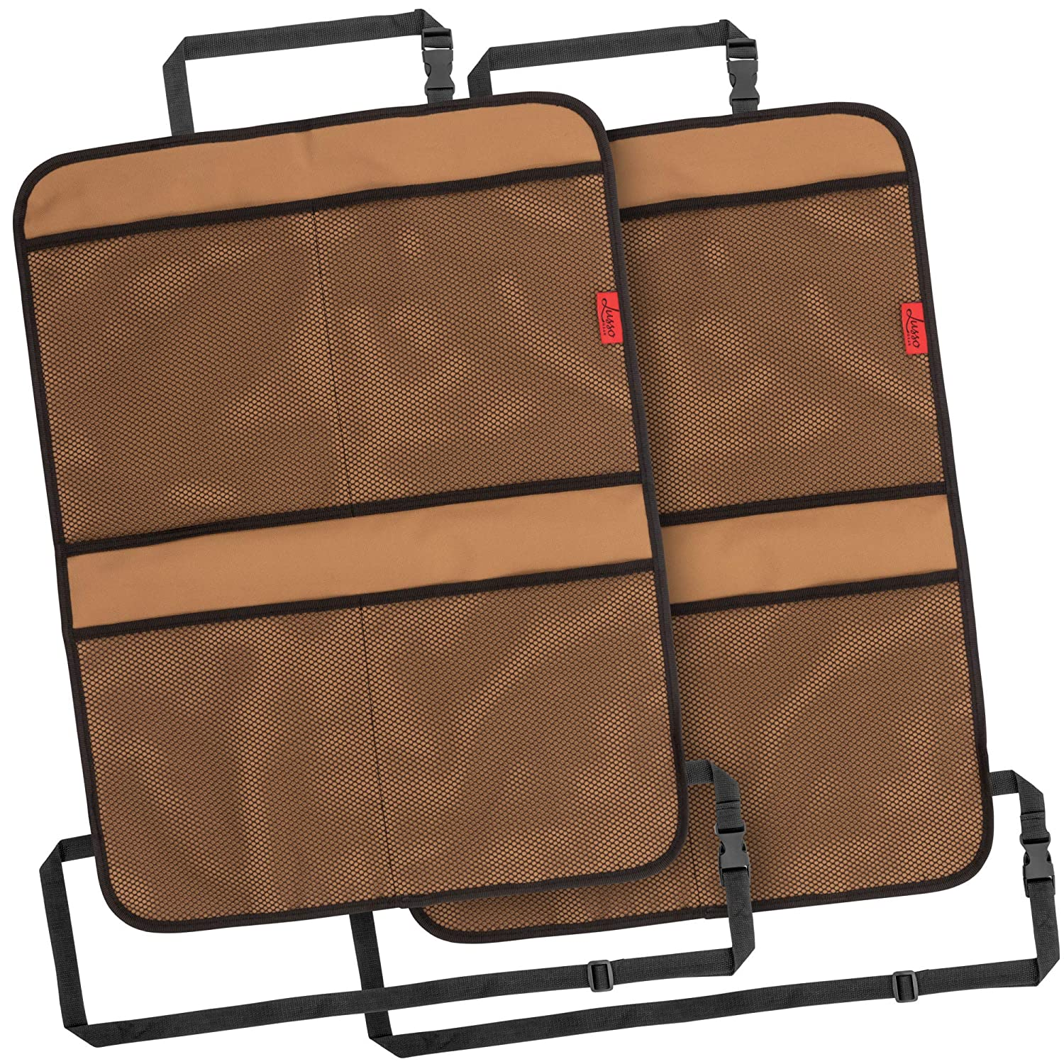 Reinforced Corners to Prevent Sag and 4 Mesh Pockets for Large Storage Premium Waterproof Fabric Kick Mat Car Seat Back Protectors with Odor Free