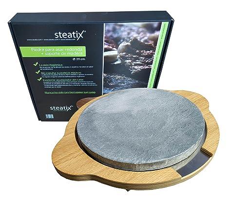 Piedra para asar redonda con soporte de madera