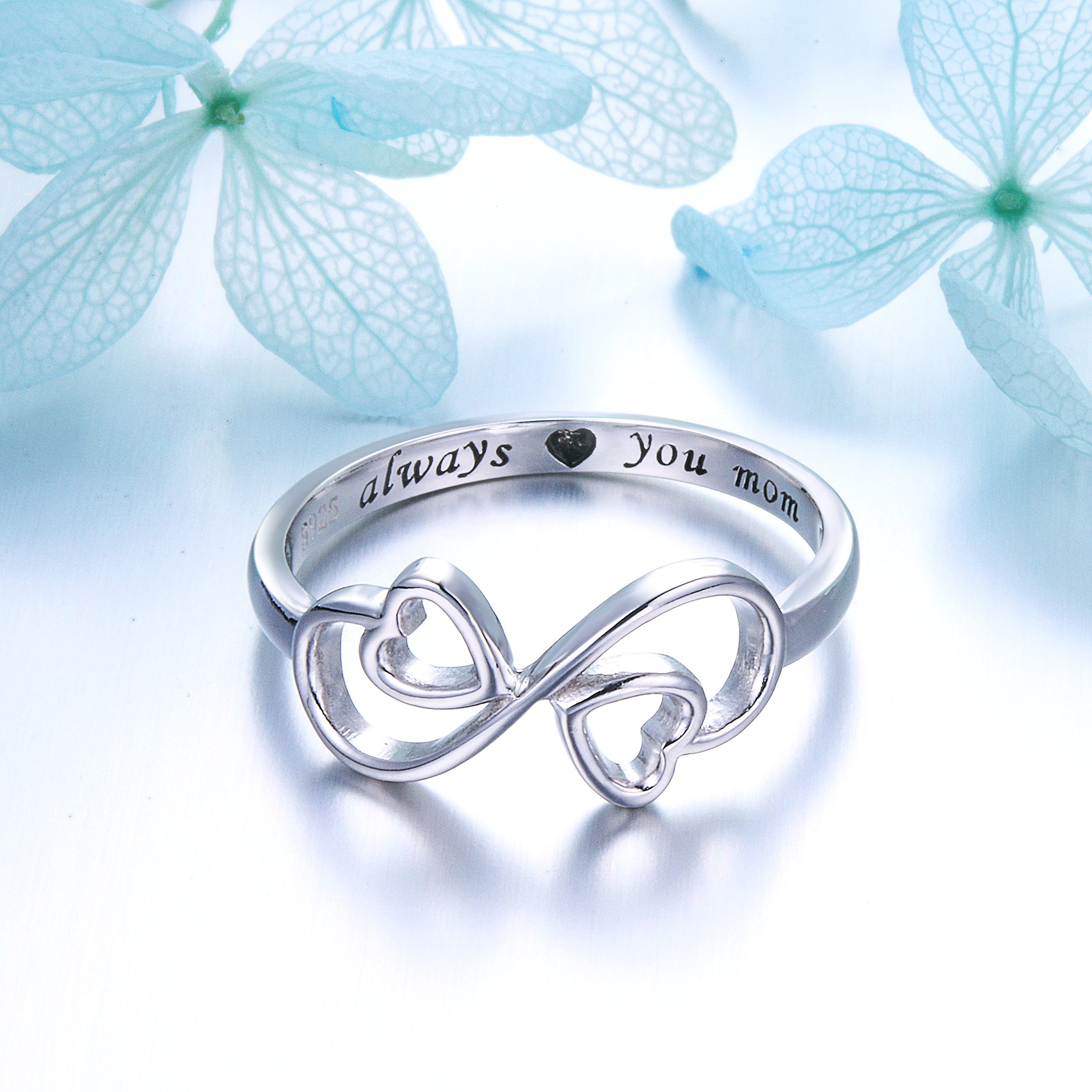 Flyow Sterling Silver Engraved Always Love You Mom Mother Daughter Forever Ring, Mother's Day Gift, Size 6-8 (7) by Flyow (Image #5)