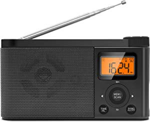 Portable AM FM Radio Emergency Weather Alert Radio Operated by 4 AA Batteries Transistor Radio with Excellent Reception, Digital Screen, Station preset, Clear Sounds and Stereo Earphone Jack