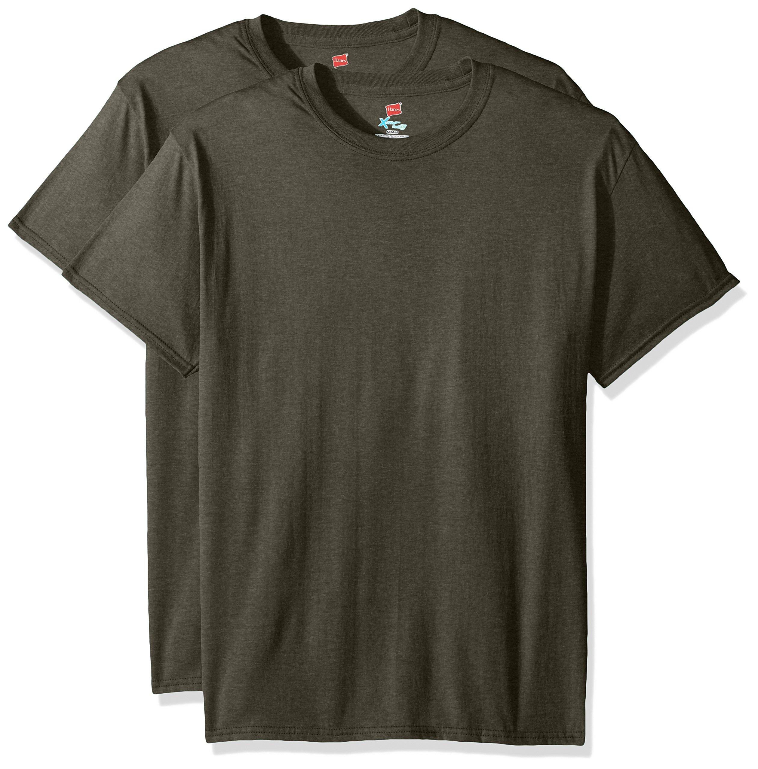 Hanes Men's Short Sleeve X-Temp W/FreshIQ T-Shirt 2-Pack, Military Green Heathaer, Large