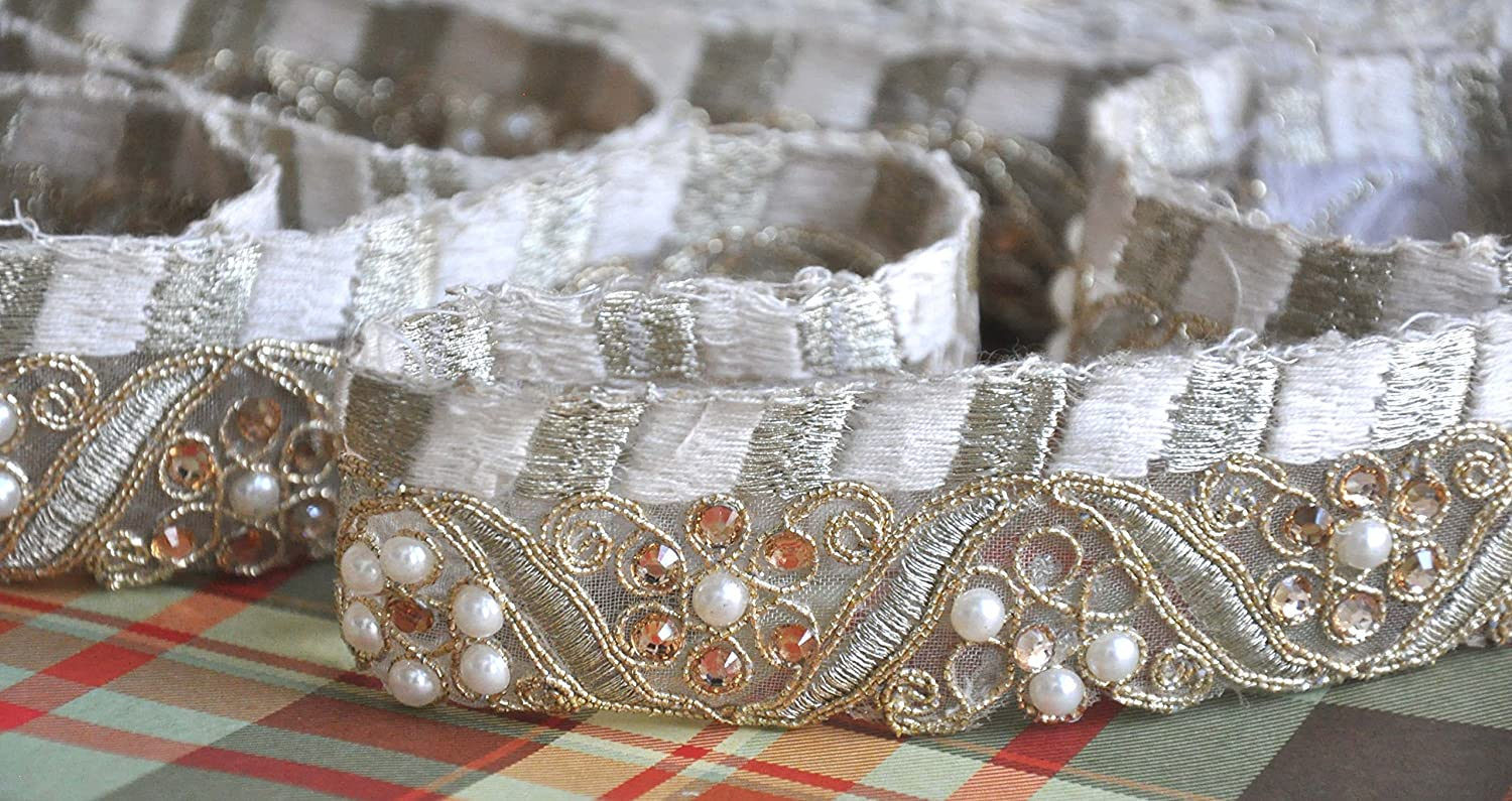 Decorative Work India Trims Indian Sari Border Lace Trimmings 9 Yard Gold Shimmer Double Sequins Embroidered Lace