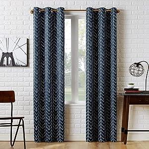 Sun Zero Kenwood Chevron Blackout Grommet Curtain Panel, 40