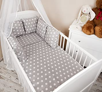 Baby Bed Linen Set With Duvet Cover Pillow Cot Bumper Spots Design Grey 100  X 135