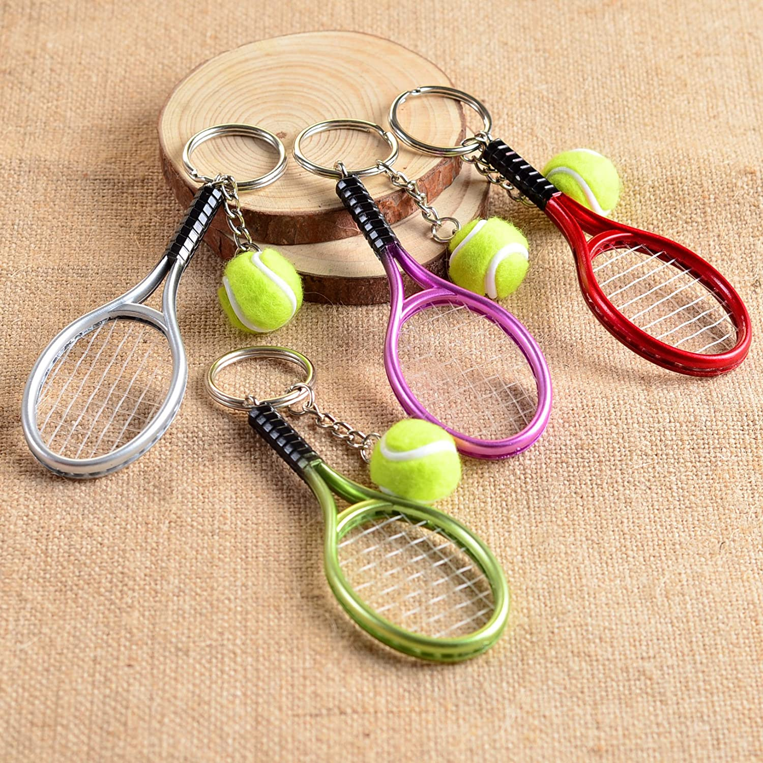 Amazon.com: Llavero de mini raqueta de tenis, anillo ...