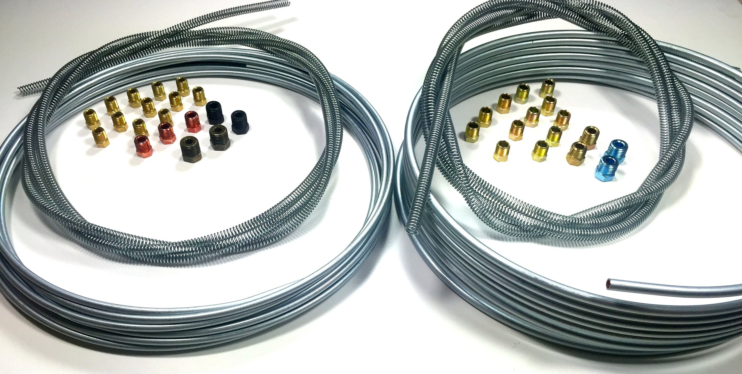 Complete 25' Rolls 3/16 & 1/4 inch Brake Line Kit WITH Fittings and 8' of Spring Guard