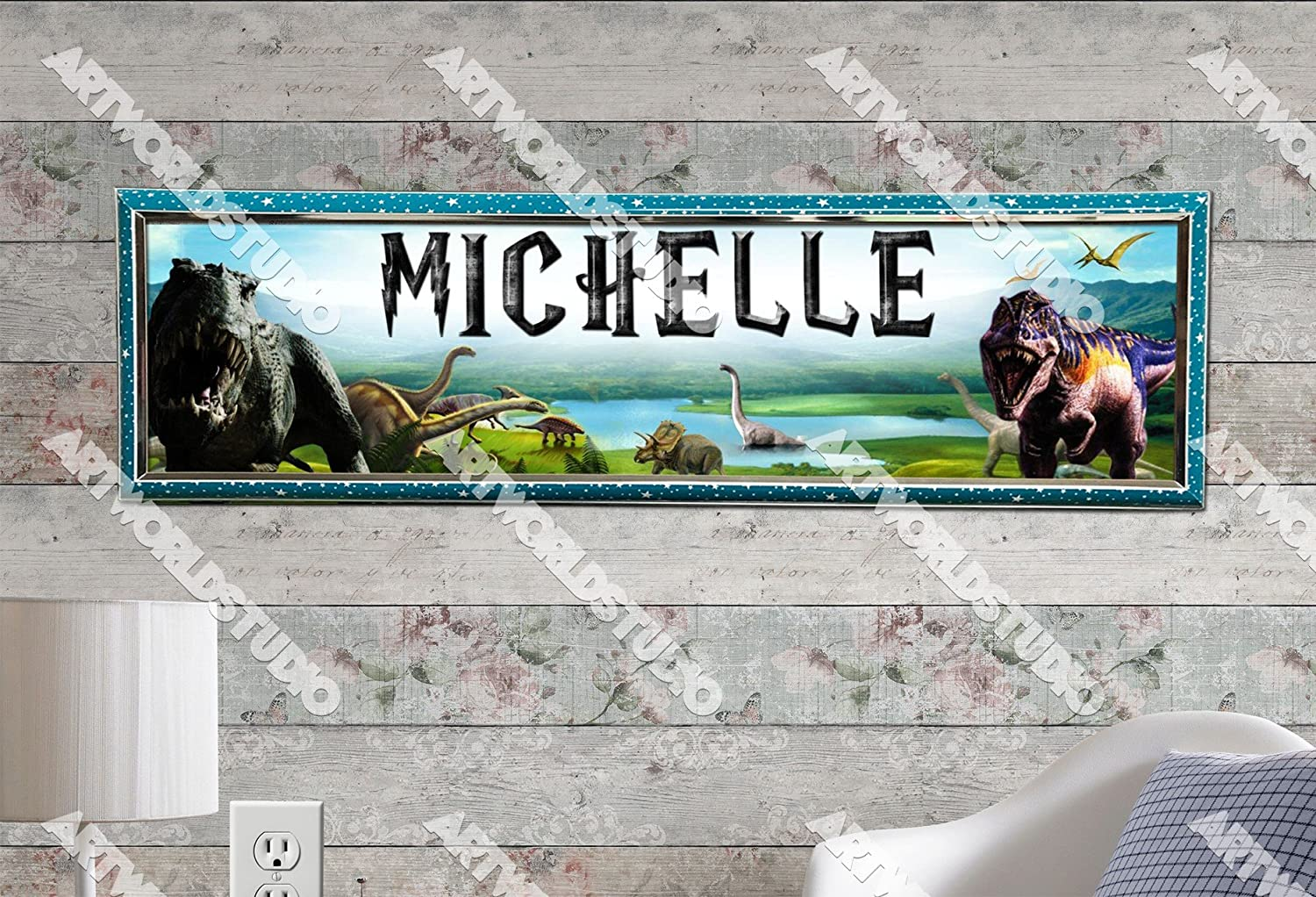 Personalized Customized Dinosaurs Name Banner Wall Decor Poster with Frame