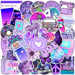 50 Purple Cute Stickers, Stickers for Laptop, Hydro Flask,Water Bottle, Skateboard Phone - Aesthetic Stickers - Stickers for Teens, Adults, Kids - Sticker Pack No Repetition - Vinly Waterproof