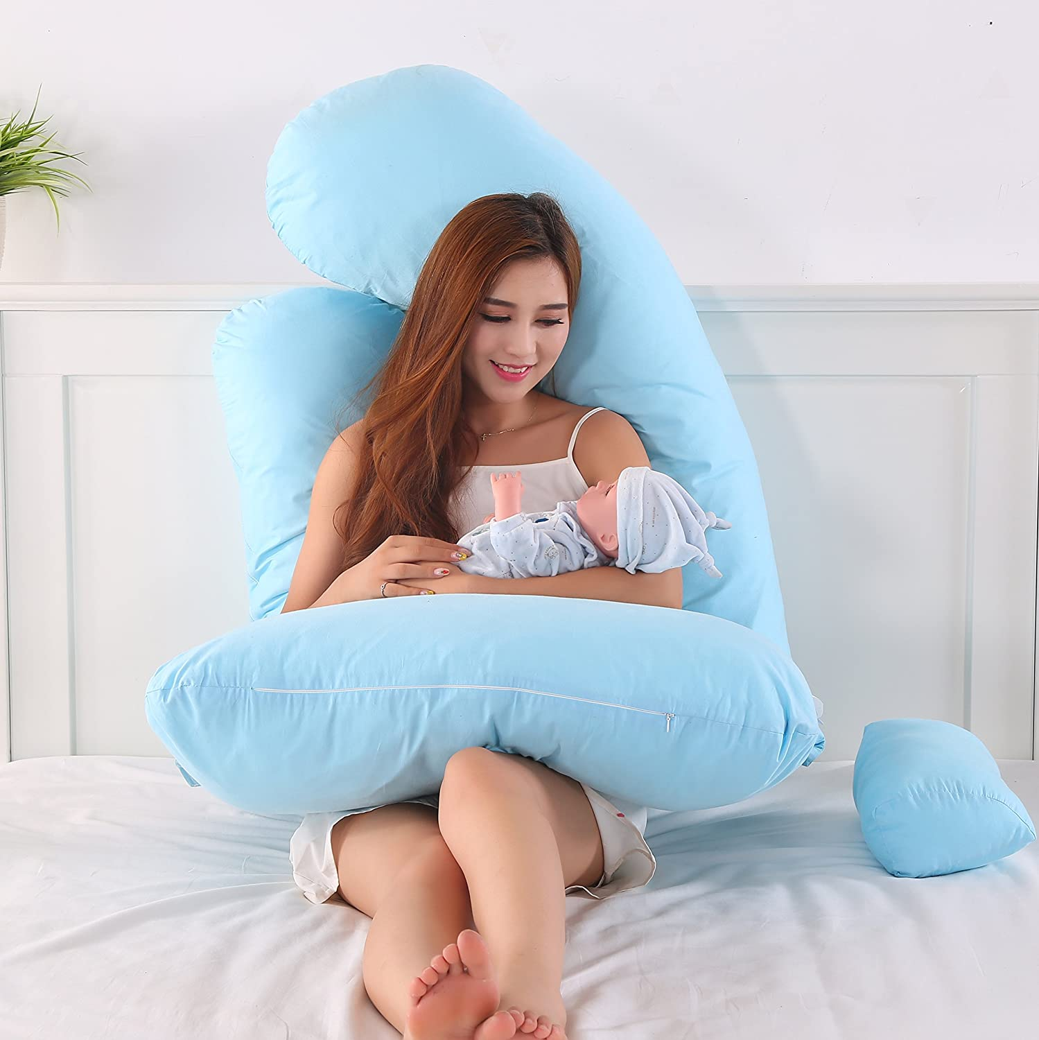 KWLET Pregnancy Pillow For Pregnant Women With Contoured U Shaped Back Support /& G-Shape Belly Support With Zipper Removable Cover Durable Up Grade Form Of U Shape
