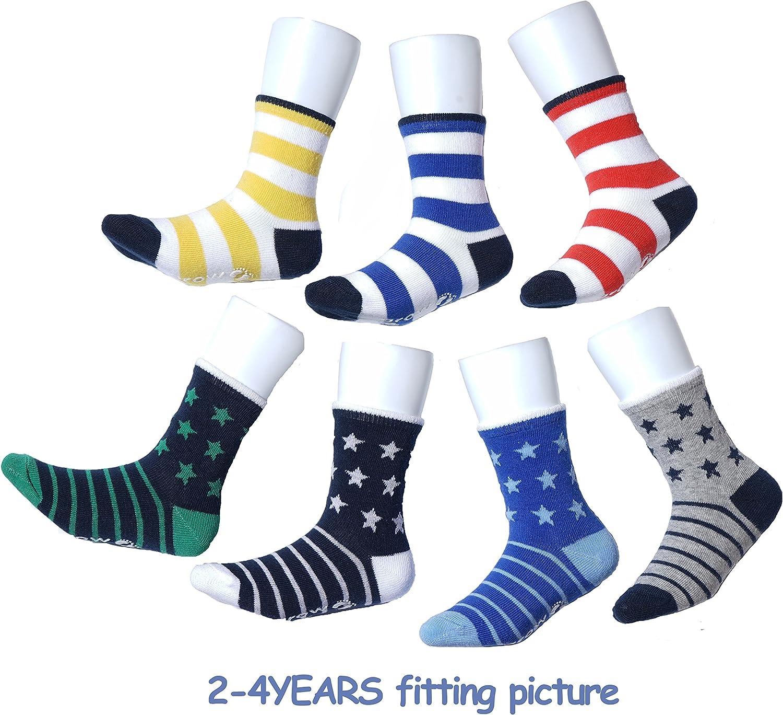 Non Skid Anti Slip Baby Infant Toddler Boys Cotton Crew Socks