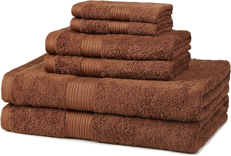 AmazonBasics 6-Piece Fade-Resistant Bath Towel Set - Acorn Brown