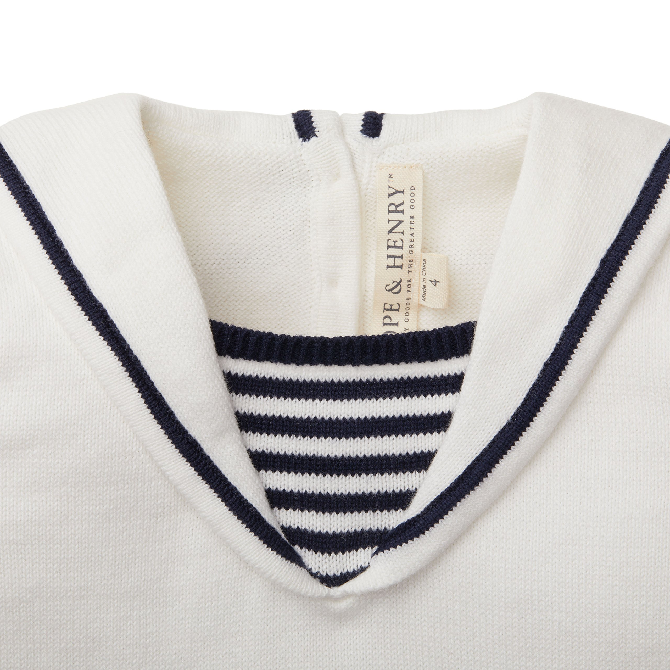 Hope and Henry Girls White Sailor Sweater Top Made With Organic Cotton by Hope & Henry (Image #3)