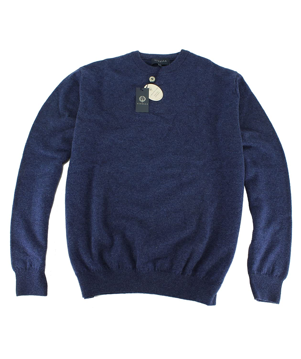 Viyela Plain Denim Blue Crew Neck Lambswool Jumper