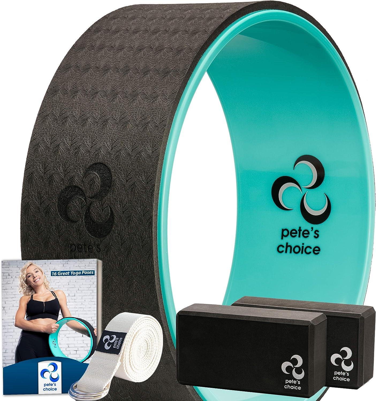 Set Accesorios de Yoga para Principiantes - Kit de Rueda de Yoga + 2 Yoga Blocks, eBook y Corra de Yoga Incluidos | Kit de Yoga Accesorios para Principiantes Yoga