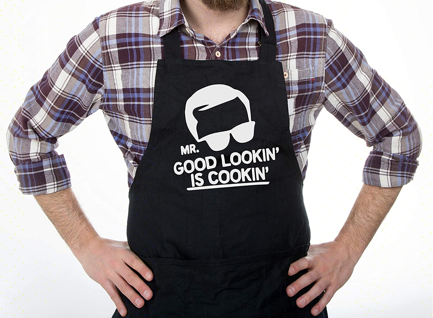 S.I.S Apron For Men | Mr Good Lookin' Is Cookin' Apron | Funny BBQ Apron