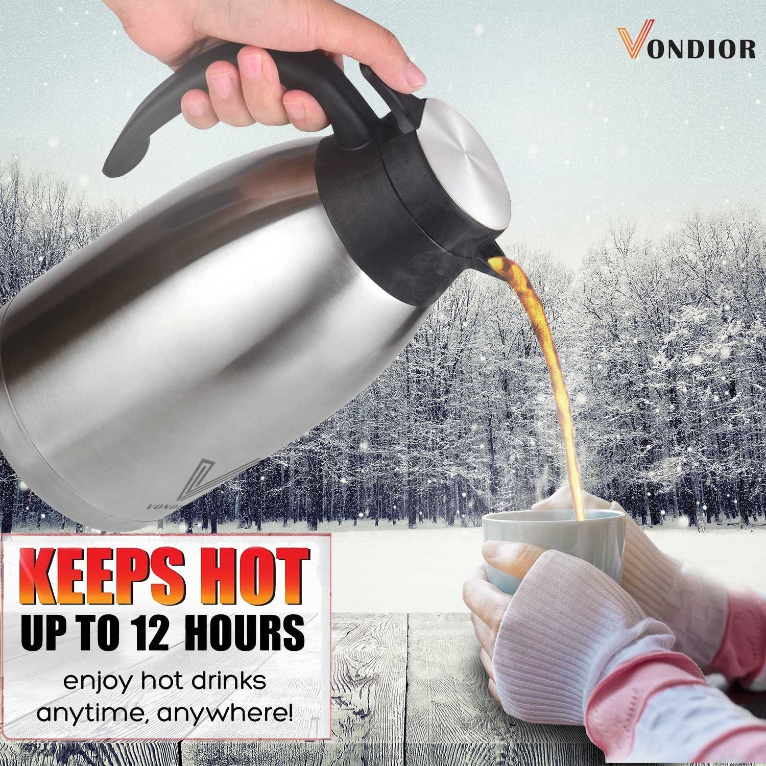 Coffee Thermal Carafe (68 Oz) + Free Brush - Large stainless steel thermos carafes, Keep water hot up to 12 Hours, double walled insulated vacuum flask, Beverage Dispenser By Vondior by Vondior (Image #1)