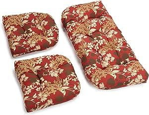 Blazing Needles Outdoor Spun Poly All Weather UV Resistant Settee Group Cushions, Montfleuri Sangria, Set of 3