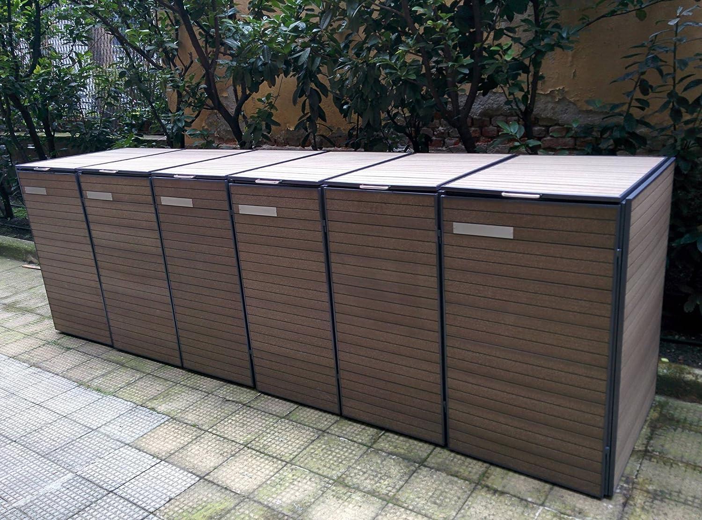 Porta bidoni spazzatura legno jc27 regardsdefemmes - Bidoni per differenziata casa ...