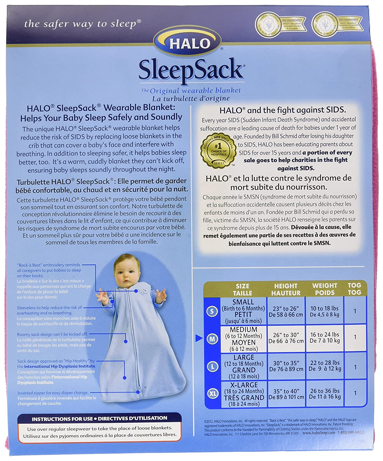 Amazon.com: Halo SleepSack Wearable Baby Blanket, Micro-Fleece (Medium, Hot Pink): Baby