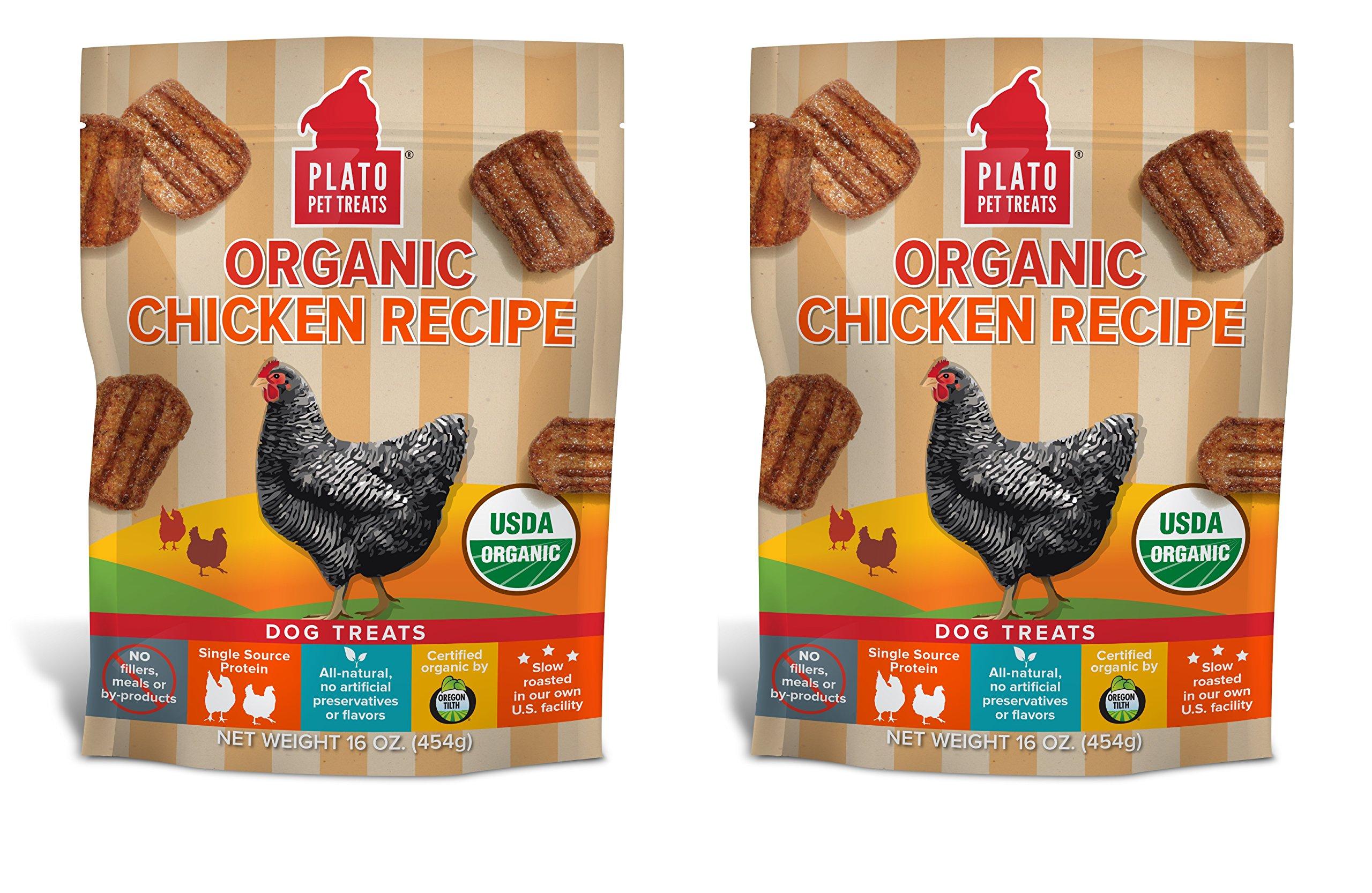 PLATO Dog Treats -Organic Chicken Real Strips- 16 oz (2 pack)
