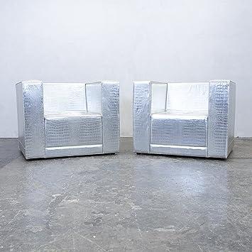 philipp plein designer sessel garnitur leder silber krokodilmuster couch modern echtleder 3819