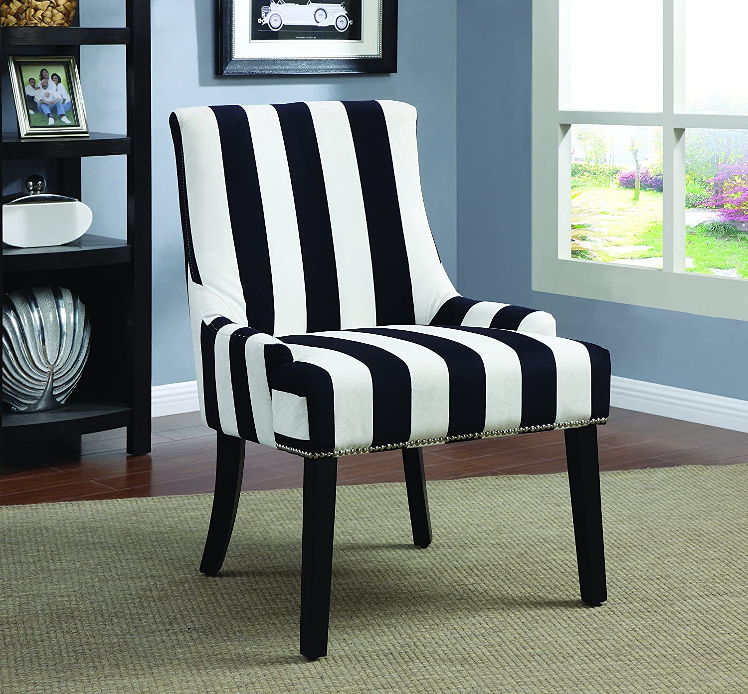 Amazon Coaster Home Furnishings Accent Chair Black Navy and