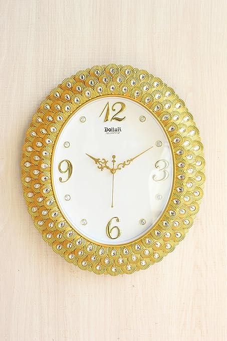 Buy FunkyTradition Royal Pearl Diamond Golden Wall Clock, Wall Watch ...