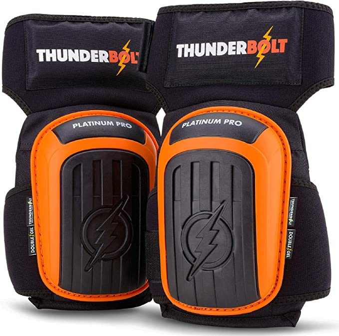 Knee Pads for Work by Thunderbolt for Construction, Flooring, Gardening, Cleaning, Tile Heavy Duty with Double Gel Cushion and Anti-Slip Straps - - Amazon.com