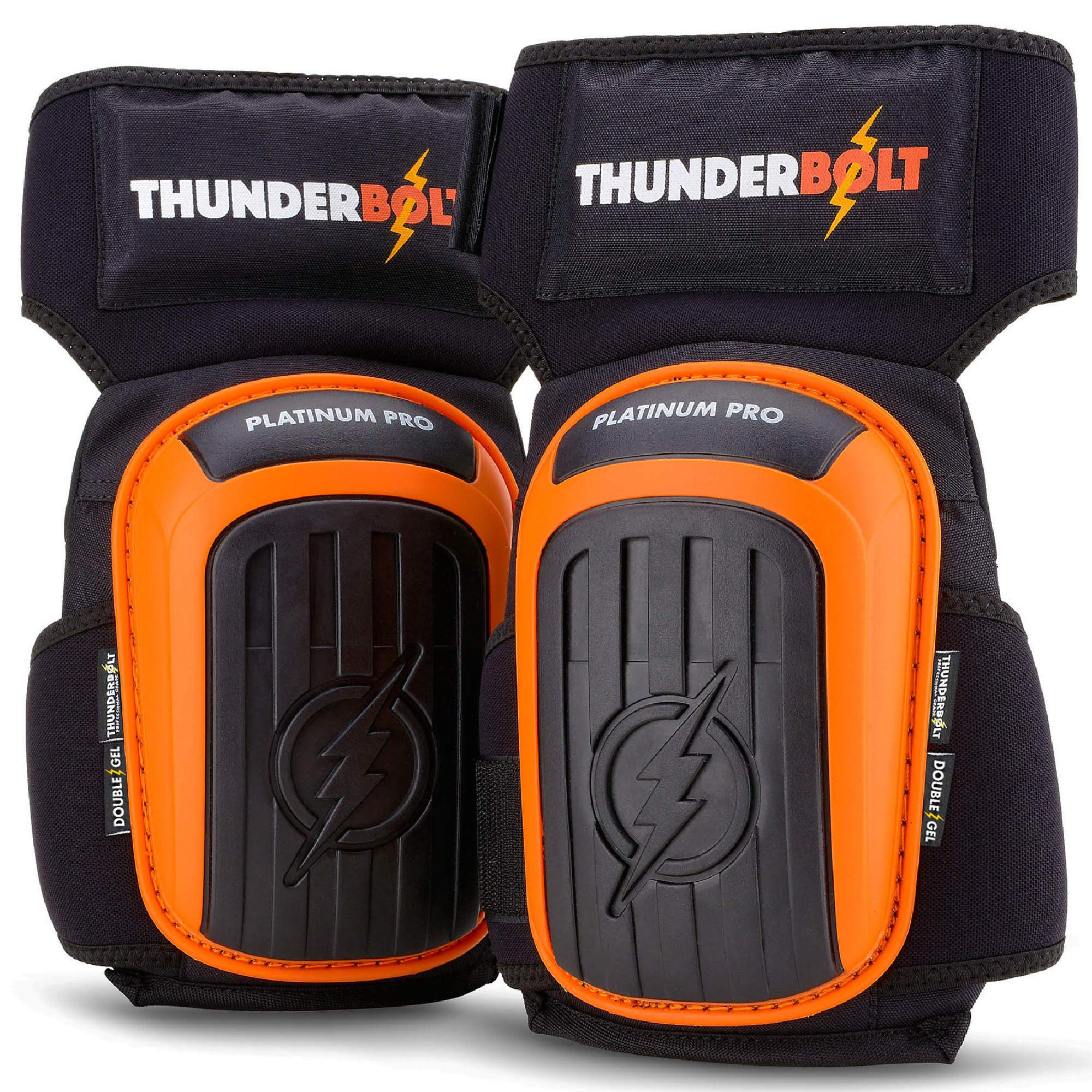 Knee Pads for Work by Thunderbolt with Heavy Duty Gel Cushion Perfect for Construction, Flooring and Gardening with Adjustable Non-Slip Straps