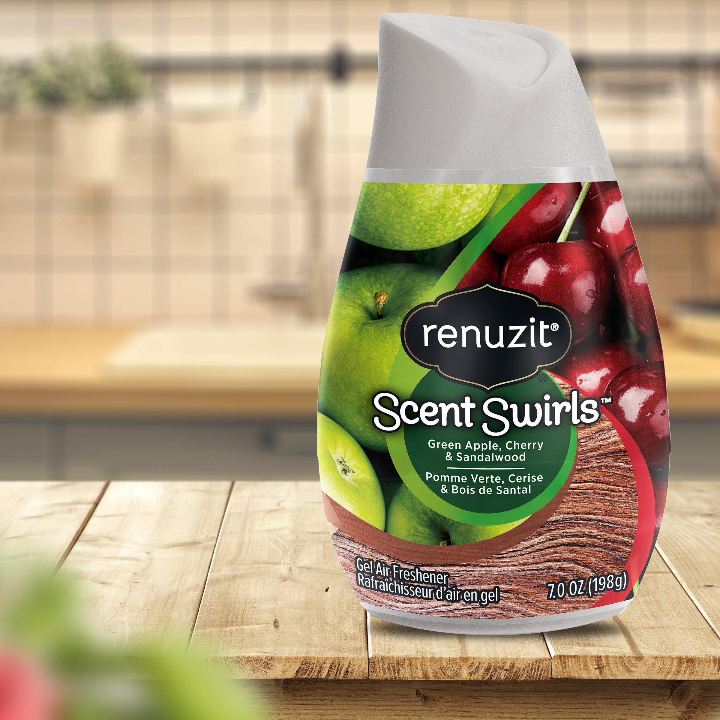 Renuzit Scent Swirls Air Freshener Gel, Green Apple, Cherry &