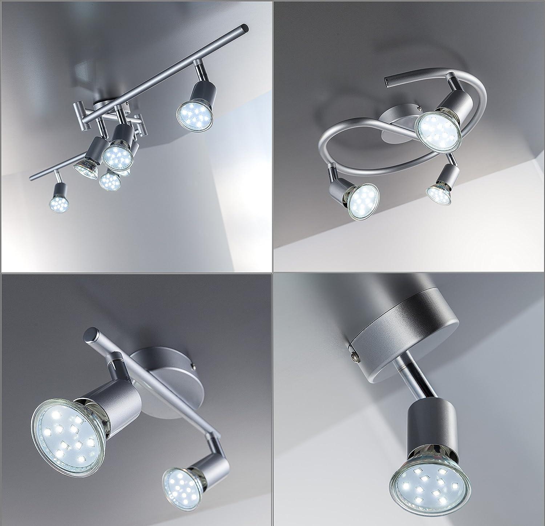 LED Deckenleuchte Schwenkbar Inkl 6 X 3W Leuchtmittel 230V GU10 IP20 Deckenlampe Deckenstrahler Lampe Leuchte Deckenspot