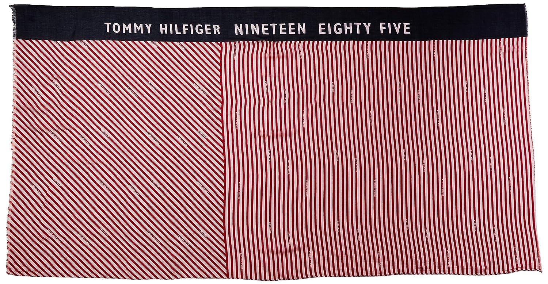 One Size Herstellergr/ö/ße: OS Tommy Hilfiger Damen Schal SAILING STRIPE PRINT SCARF Rot Tommy Red 614