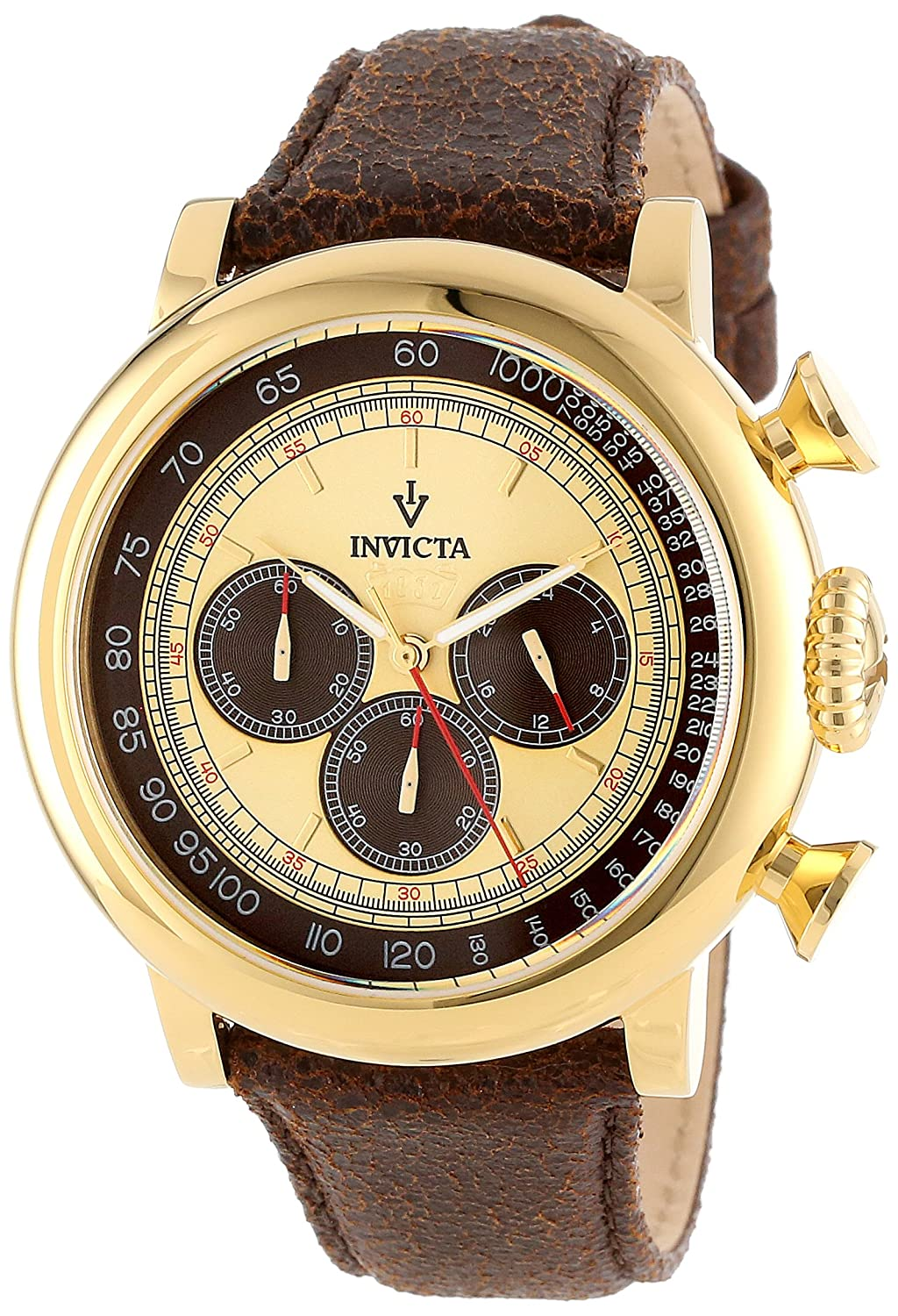 Invicta Men s 13058 Vintage Gold-Tone Stainless Steel Watch with Distressed Leather Band