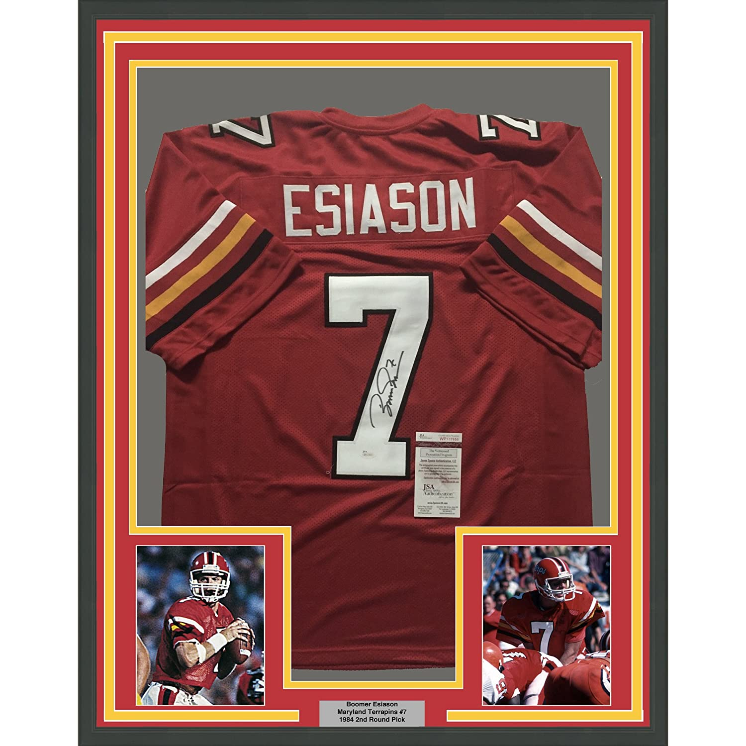 Framed Autographed/Signed Boomer Esiason 33x42 Maryland Terrapins Red College Football Jersey JSA COA