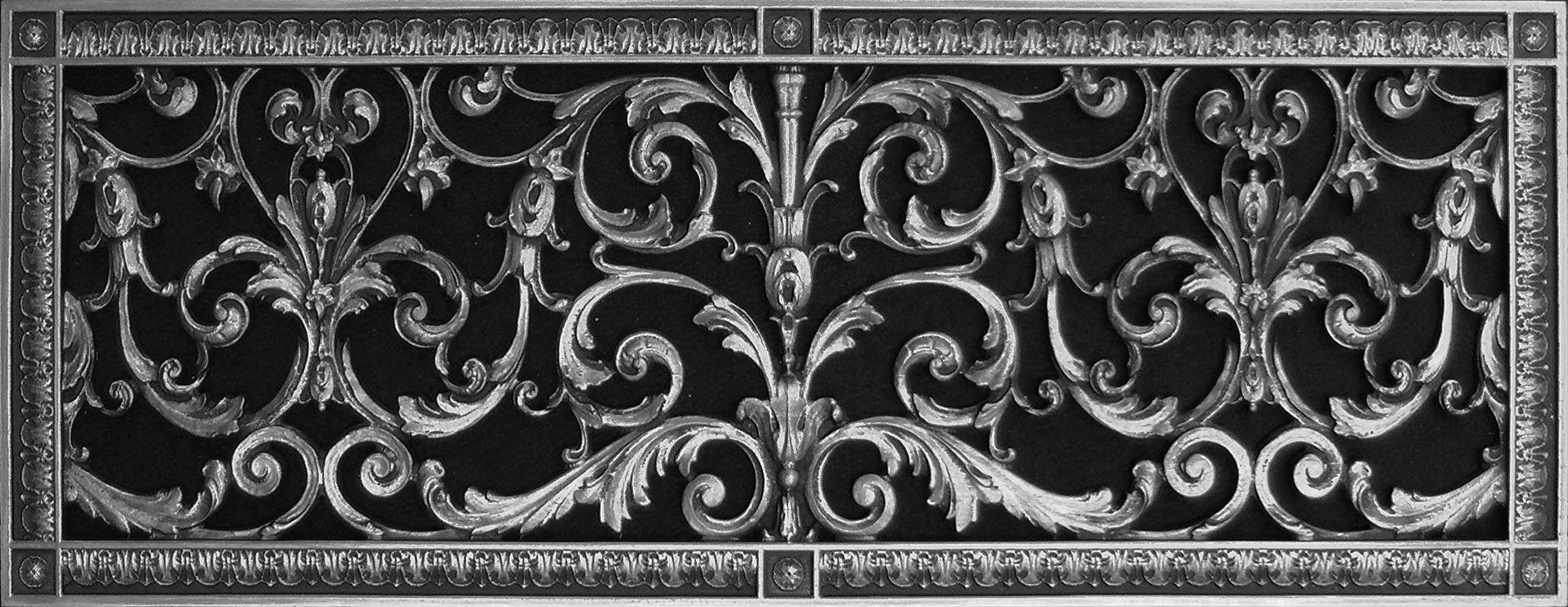 """Decorative Vent Cover, Grille, made of Urethane Resin in Louis XIV, French style fits over a 8""""x 24"""", Total size, 10"""" by 26"""", for wall & ceiling installation only. (not for floors) (Pewter)"""
