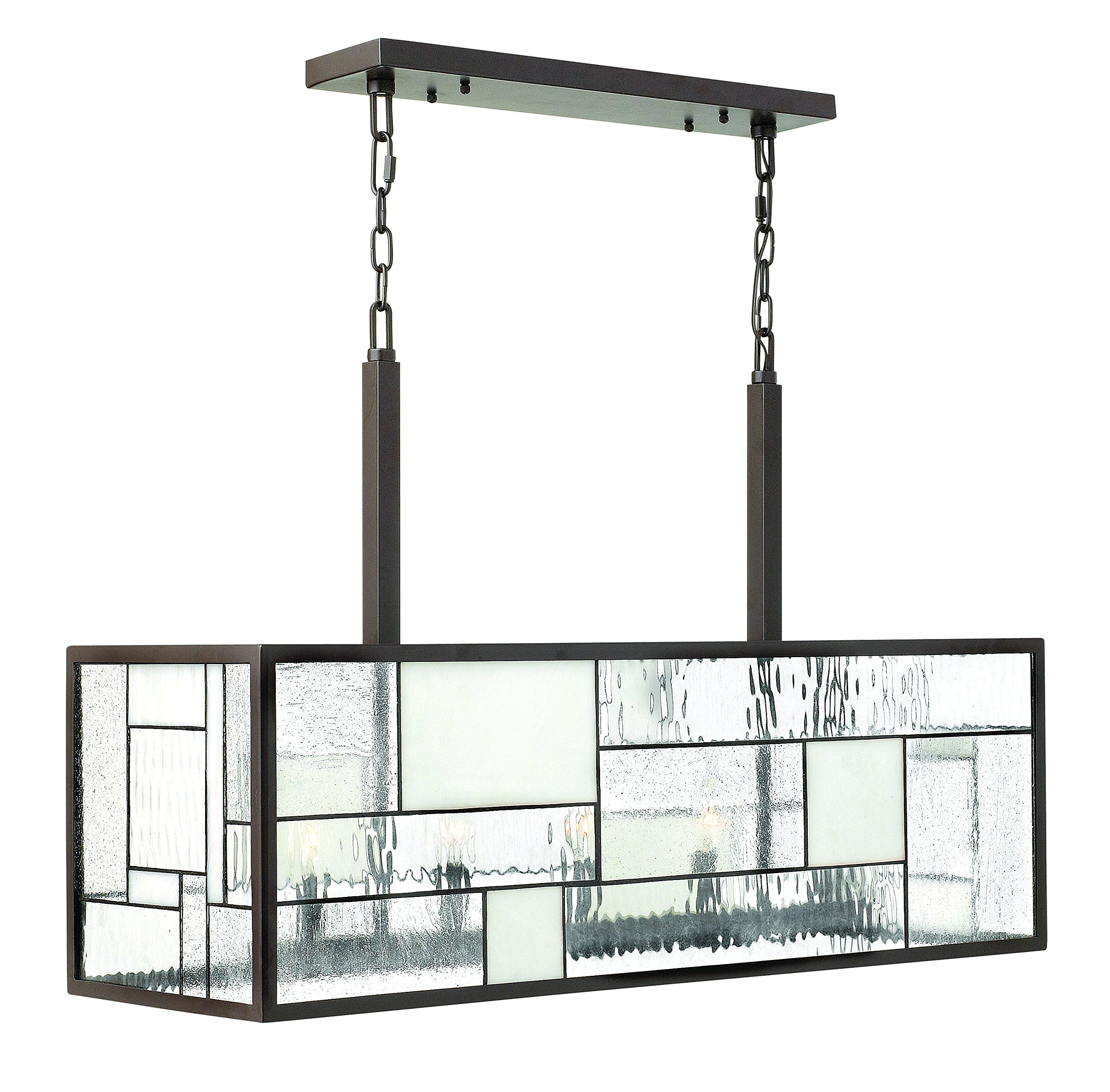 Hinkley 4575KZ Transitional Five Light Linear Chandelier from Mondrian collection in Bronze/Darkfinish, 12.00 inches