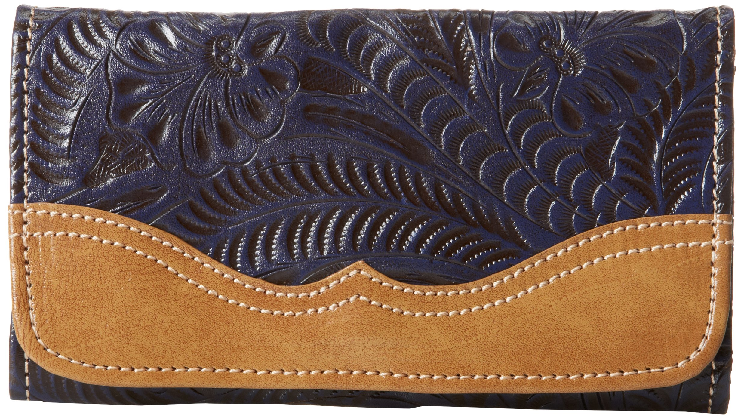American West Birds Of A Feather Wallet Trifold,Distressed Indigo/Tan,One Size