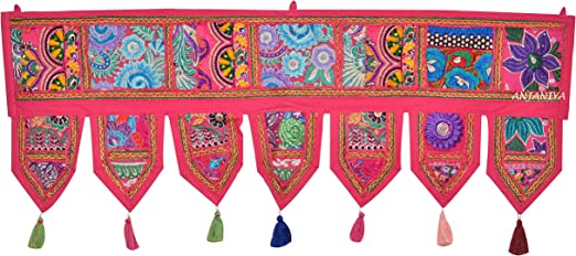 Yellow Indian embroidered toran door valances wall hanging Elephant Home Decor