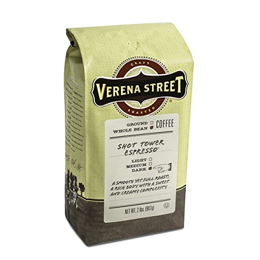 Verena Street, Shot Tower Espresso, Whole Bean Dark Roast, Craft Roasted Specialty Arabica Gourmet Premium Coffee