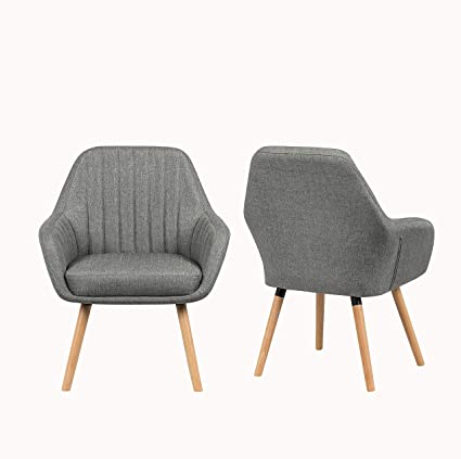 Surprising Yeefy Contemporary Modern Muted Fabric Accent Arm Chair And Soft Padded Shell Chair With Solid Wood Legs Set Of 2 Grey Creativecarmelina Interior Chair Design Creativecarmelinacom