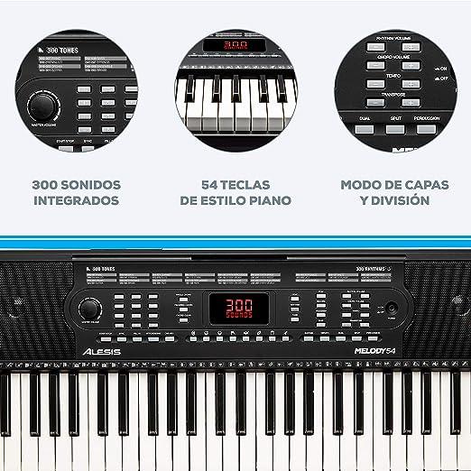 Alesis Melody 54 - Teclado Electrónico Portátil con 54 Teclas de Estilo Piano, Altavoces Integrados, Micrófono y Atril, 300 Sonidos y 300 Ritmos, 40 ...