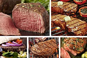 Chicago Steak 27 Piece Meat Assortment - A Feast of Prime Beef! –Classic Prime Steak Set - Includes 2 Filet Mignon Steaks, 6 Sirloin Steaks, 2 Ribeye, 16 Burgers & 1 Chicago Steak Seasoning