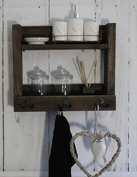 Étagère de salle de bain en bois brun style rustique style ...